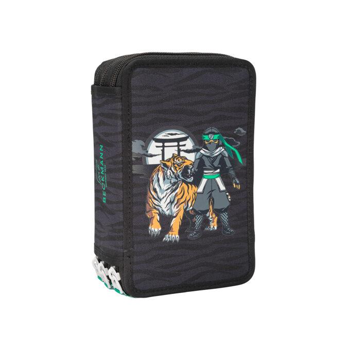 Trelagspennal ninja tiger, gråsvart med mønster, tre separate rom