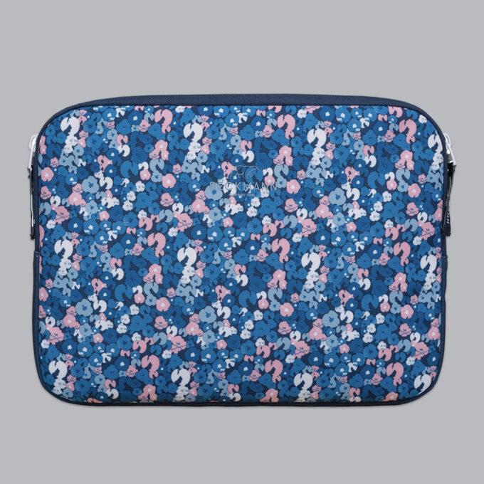 """Omslag for nettbrett 12,9"""", flower, blå med blomstermønster, lukkes med glidelås"""