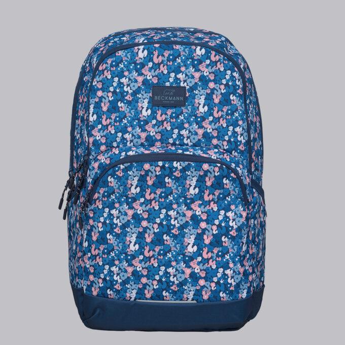 Sport junior, flower skolesekk, frontbilde, blå med blomsterdesign