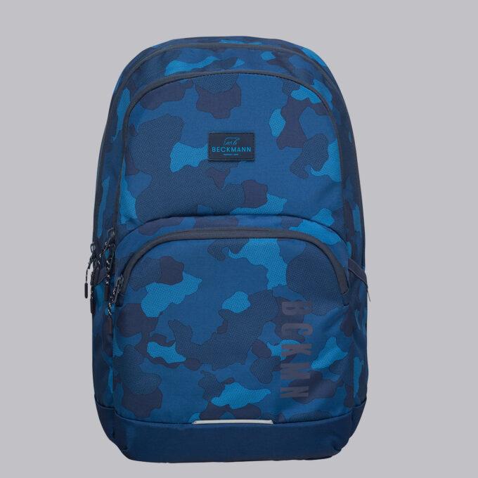 Sport junior, blue camo skolesekk, frontbilde, blå med blått kamuflasjemønster