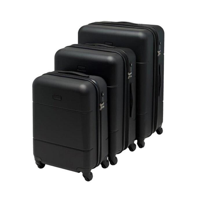 Trillekoffertsett, sort, 4 hjul, 3 størrelser, kodelås