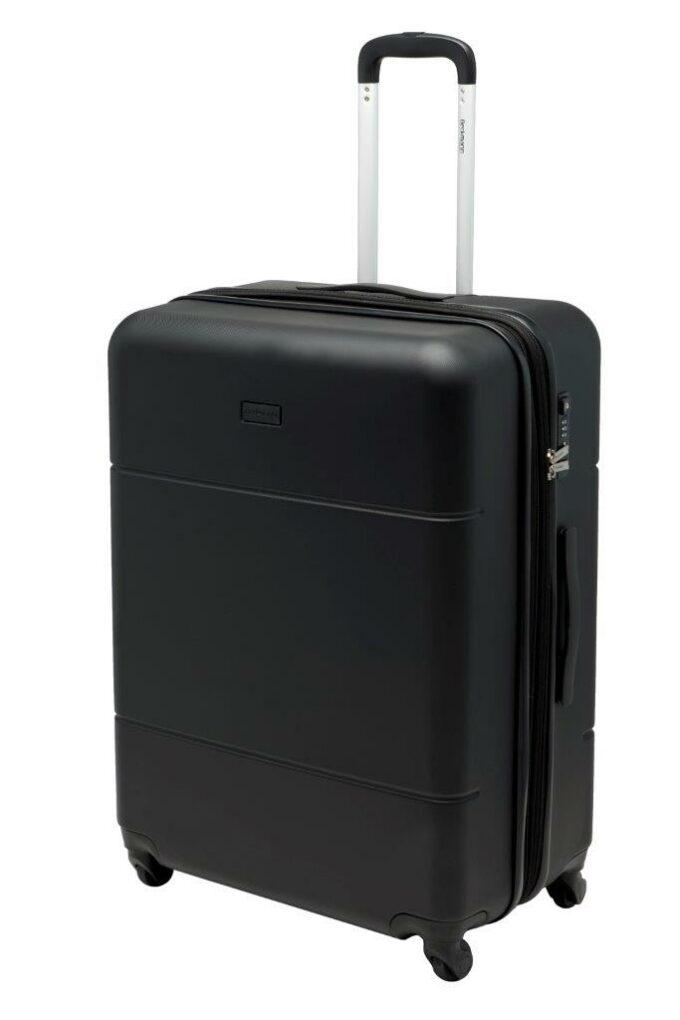 Trillekoffertsett, sort, største størrelsen, frontbilde, rent design