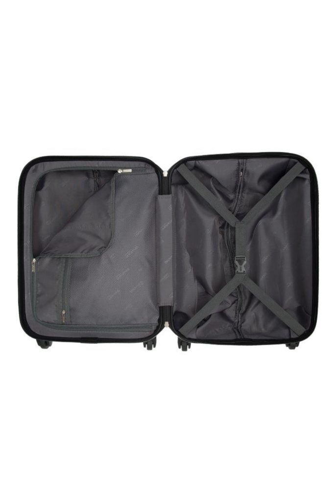 Trillekoffertsett, sort, innvendig bilde, 2 rom, pakkestropper, glidelåslomme