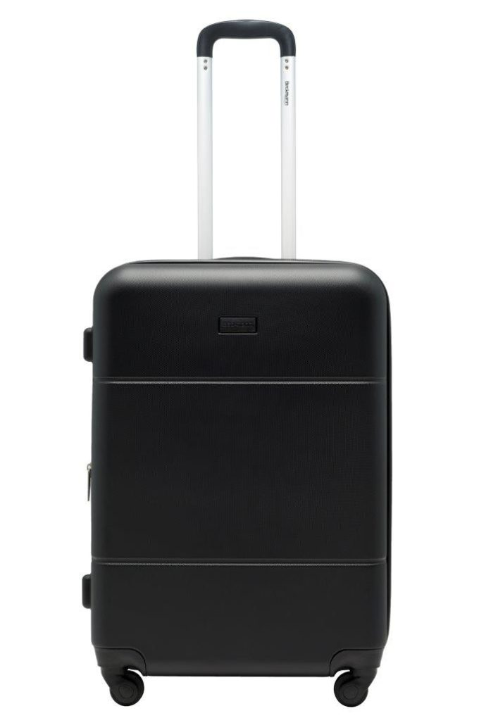 Trillekoffertsett, sort, medium størrelsen, frontbilde, rent design