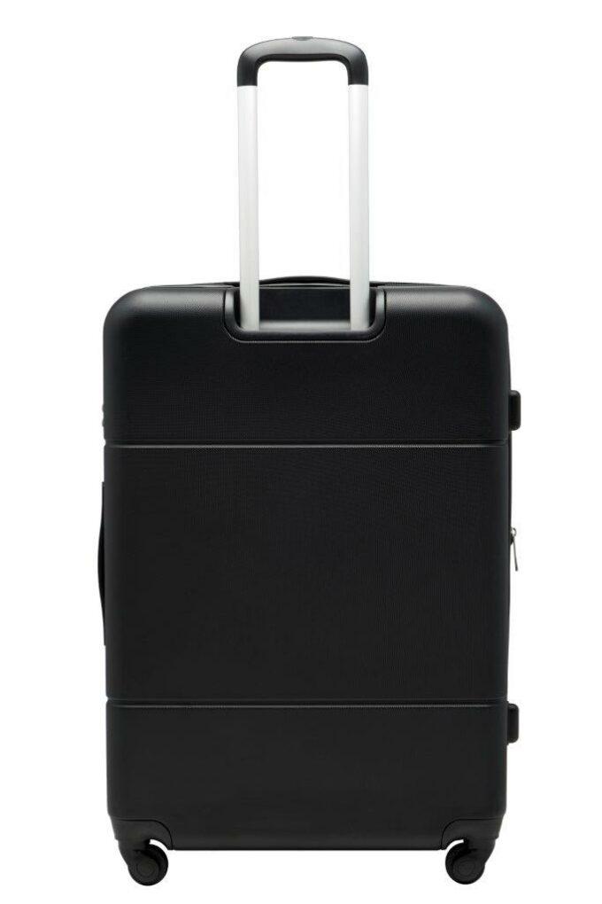 Trillekoffertsett, sort, største størrelsen, baksiden, rent design