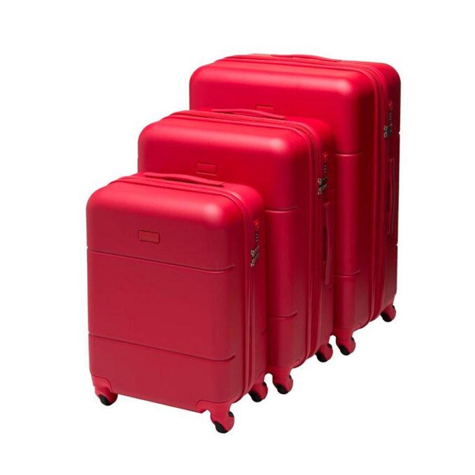 Trillekoffertsett, rød, 4 hjul, 3 størrelser, kodelås