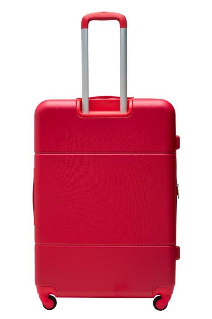 Trillekoffertsett, rød, største størrelsen, baksiden, rent design
