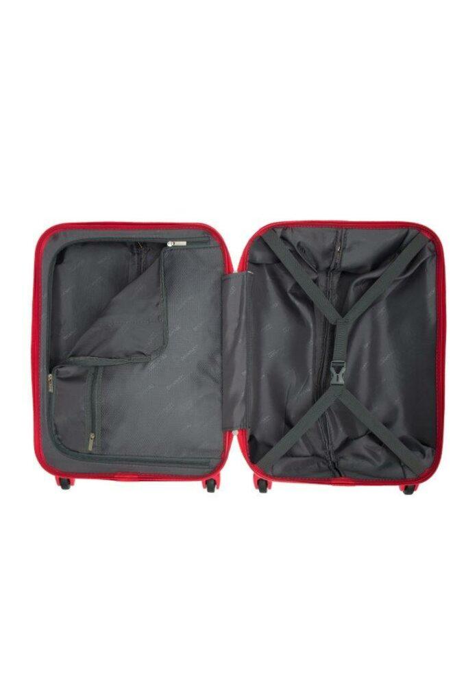 Trillekoffertsett, rød, innvendig bilde, 2 rom, pakkestropper, glidelåslomme