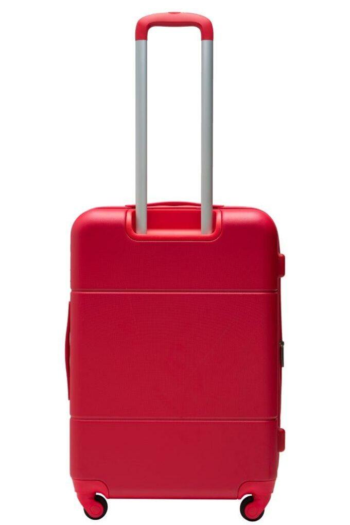 Trillekoffertsett, rød, medium størrelsen, bakside, rent design