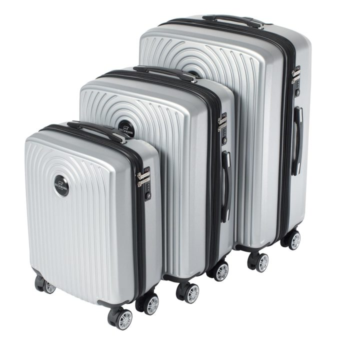 Motion, trillekoffertsett, silver, 3 størrelser, 4 hjul, kodelås, moderne design
