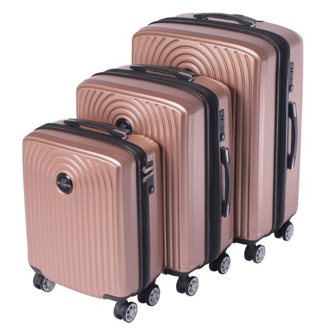 Motion, trillekoffertsett, rose pink, 3 størrelser, 4 hjul, kodelås, moderne design