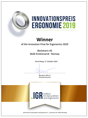 Innovation Award for Ergonomics 2019