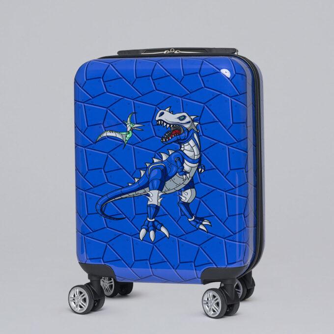 Barnekoffert armour rex, blåmønstret med dinosaurmotiv