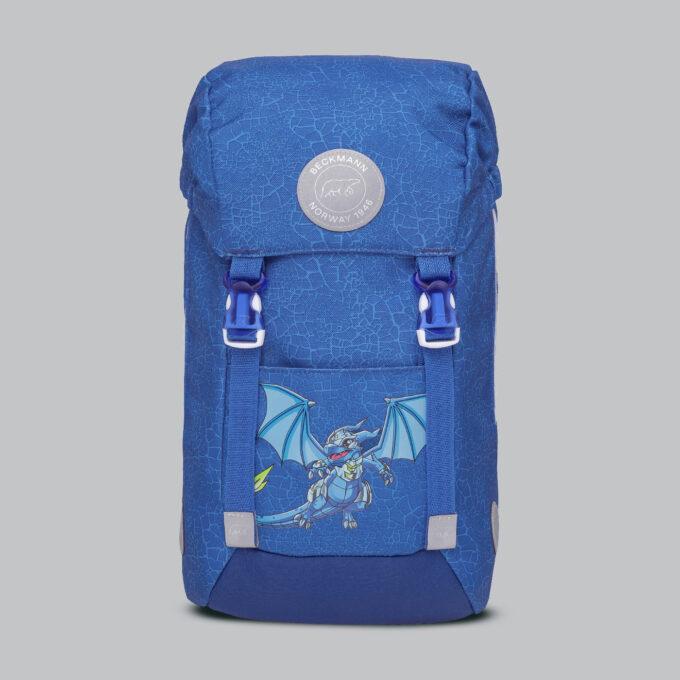 Classic mini, dragon, barnehagesekk, blå farge med mønster