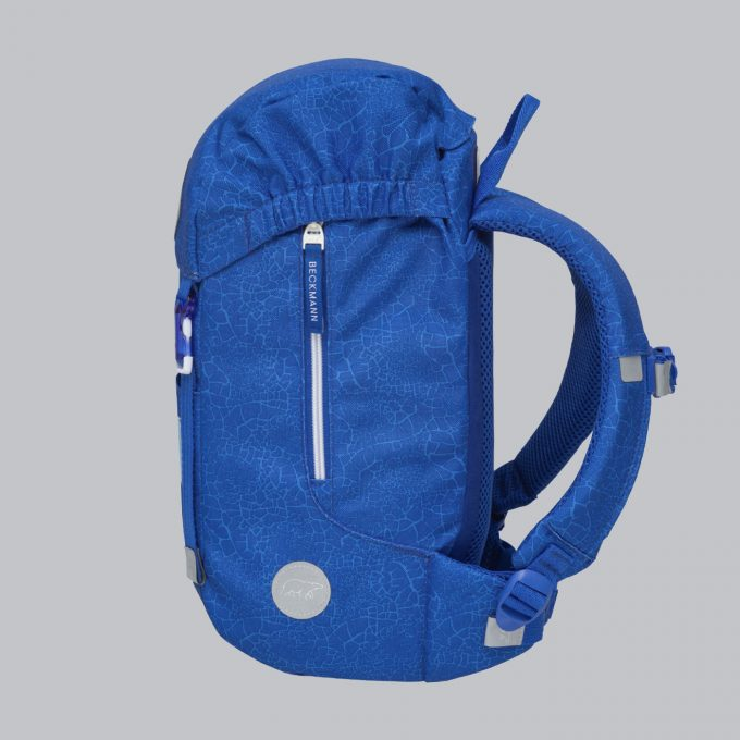 Classic mini, dragon, blå, barnehagesekk, utvendig rom til drikkeflaske, hoftebelte, reflekser rundt hele sekken