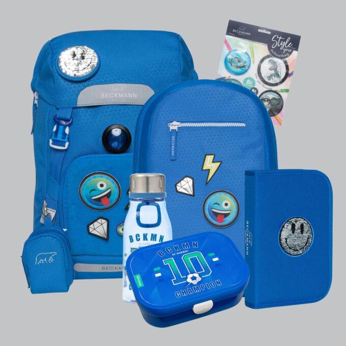 Classic patch sett bestående av skolesekk, gymsekk, pennal, flaske, matboks og buttons. Blå med mønster
