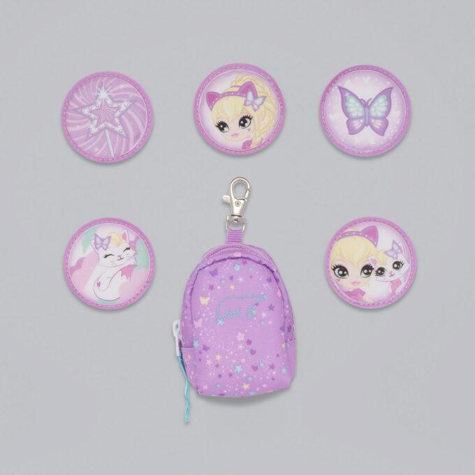 Button bag, magic alva, minisekk med ekstra buttons til å feste på skolesekken, 5 forskjellige design