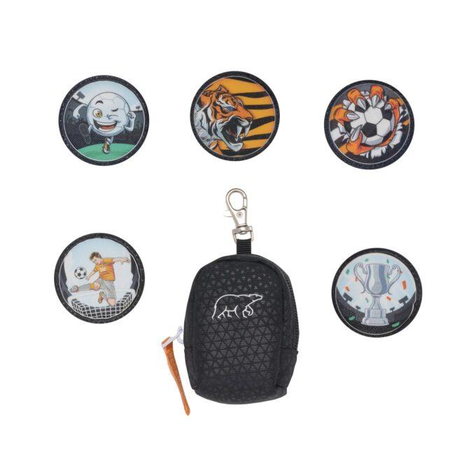 Button bag, tiger team, minisekk med ekstra buttons til å feste på skolesekken, 5 forskjellige design