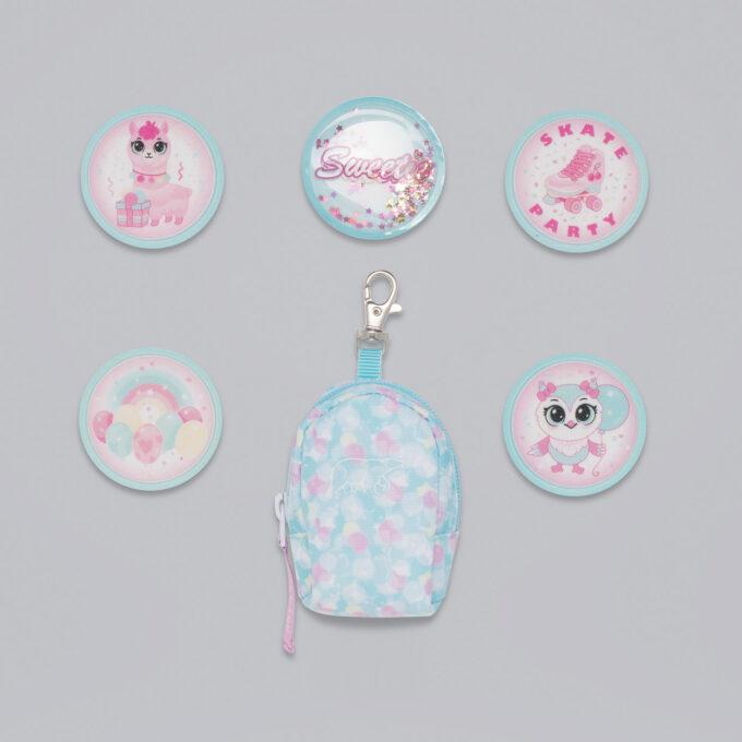 Button bag, sweetie, minisekk med ekstra buttons til å feste på skolesekken, 5 forskjellige design