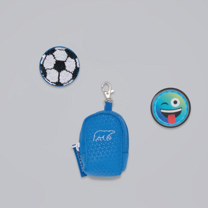 Button bag, patch, minisekk med ekstra buttons til å feste på skolesekken, 5 forskjellige design