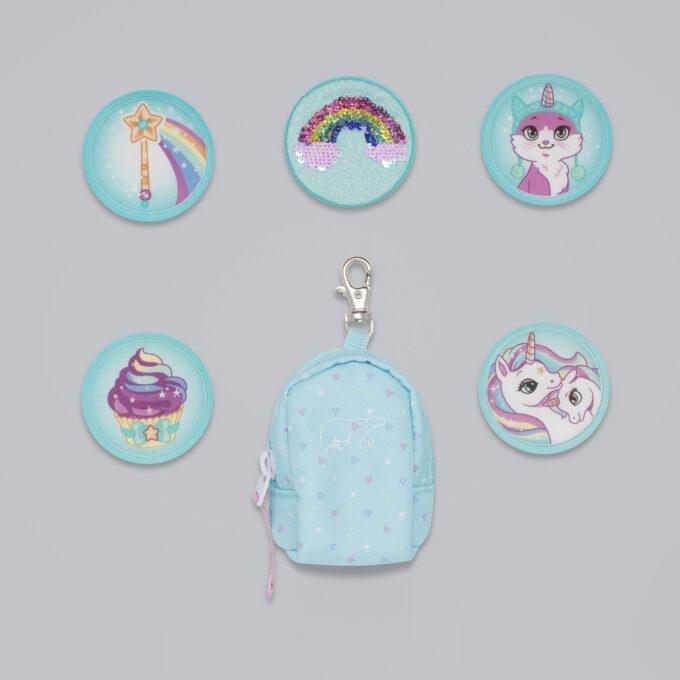 Button bag, patch glitter, minisekk med ekstra buttons til å feste på skolesekken, 5 forskjellige design