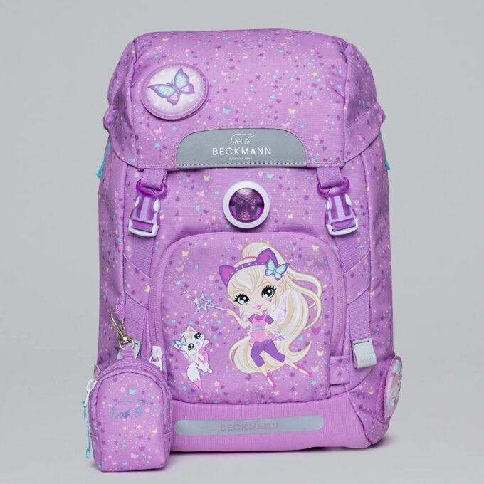 Classic magic alva, rosa, blinklys i front, vendbar frontlomme, buttonbag
