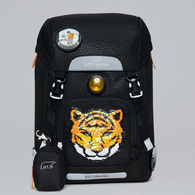 Classic tiger team, svart, blinklys i front, vendbar frontlomme, buttonbag