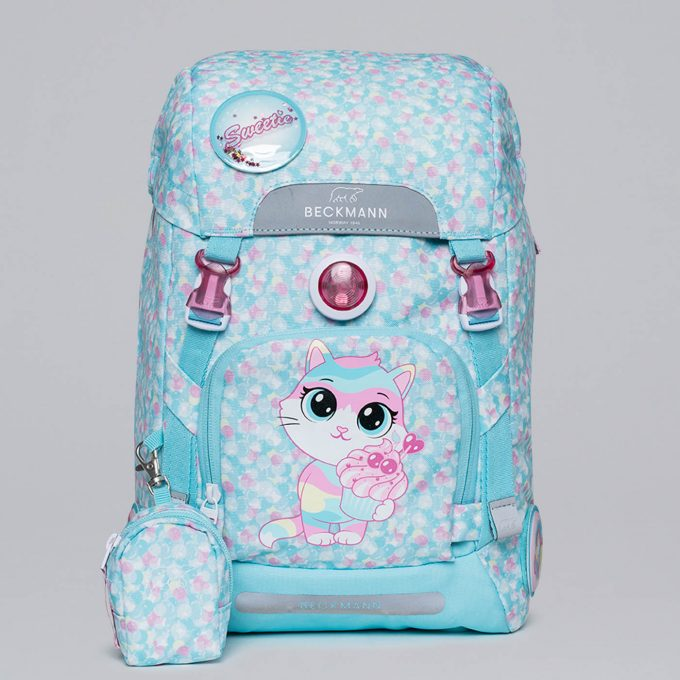 Classic sweetie, lyseblå, blinklys i front, vendbar frontlomme, buttonbag