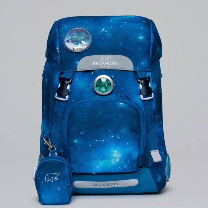 Classic galaxy, blå, blinklys i front, vendbar frontlomme, buttonbag
