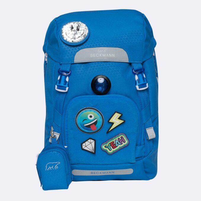 Classic patch, blå, blinklys i front, vendbar frontlomme, buttonbag
