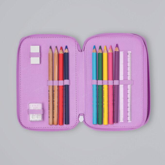 Trelagspennal magic alva, medfølgende fargeblyanter, blyanter, viskelær, linjal, spisser