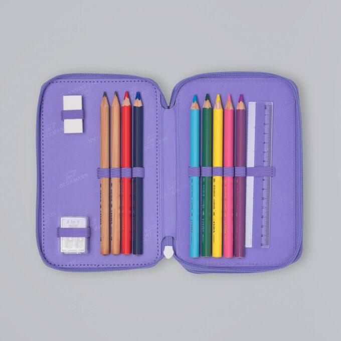 Trelagspennal dream, medfølgende fargeblyanter, blyanter, viskelær, linjal, spisser