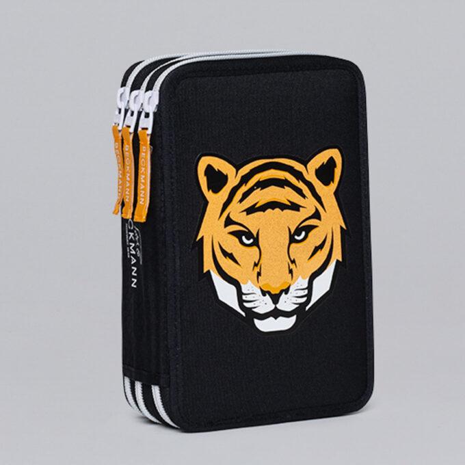 Trelagspennal tiger team, svart med tiger mønster, tre separate rom
