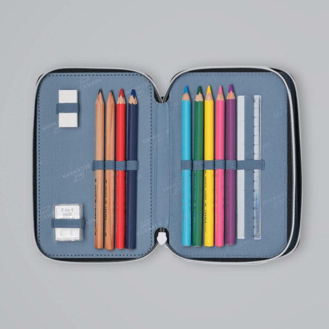 Trelagspennal tiger team, medfølgende fargeblyanter, blyanter, viskelær, linjal, spisser
