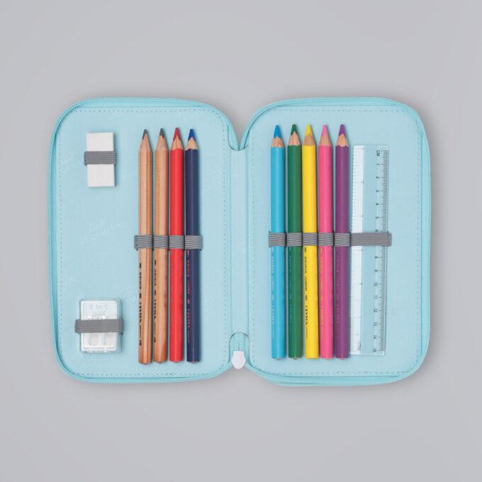 Trelagspennal sweetie, medfølgende fargeblyanter, blyanter, viskelær, linjal, spisser