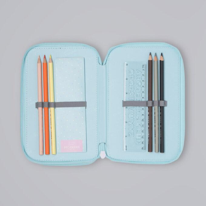 Trelagspennal patch glitter, medfølgende fargeblyanter, linjal, notatbok