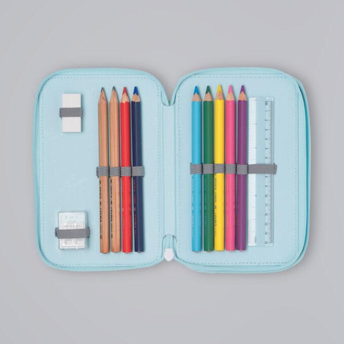 Trelagspennal patch glitter, medfølgende fargeblyanter, blyanter, viskelær, linjal, spisser