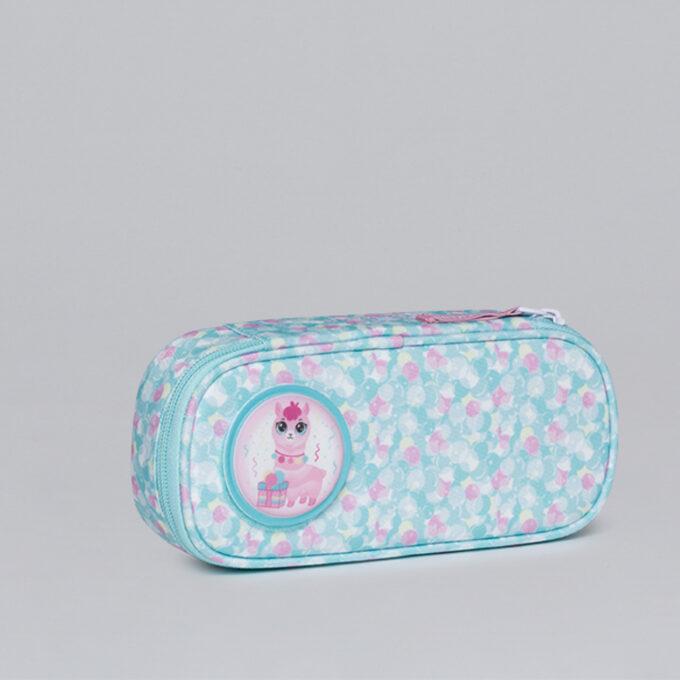 Ovalt pennal sweetie, blå og rosa mønstret med button