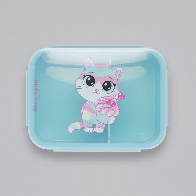 Matboks sweetie, lyseblå bunn, gjennomsiktig lokk med motiv