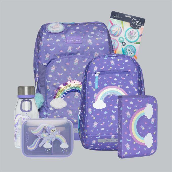 Active Air FLX dream, sett bestående av skolesekk, gymsekk, pennal, flaske, matboks og buttons. Lilla farge med regnbuer