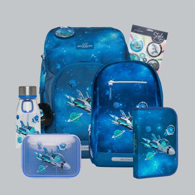 Active Air FLX galaxy, sett bestående av skolesekk, gymsekk, pennal, flaske, matboks og buttons. Blå med mønster