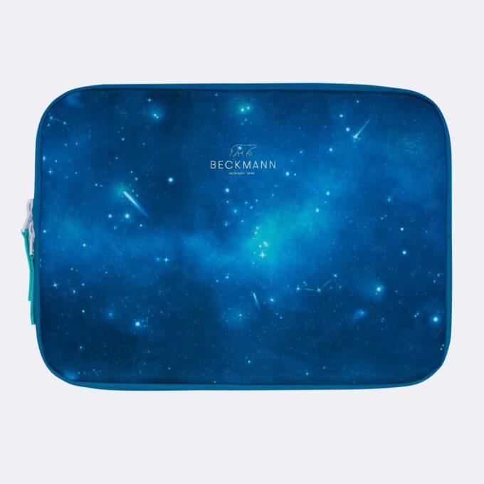 Omslag for nettbrett galaxy, blåmønstret stjernehimmel, fôret beskyttelse til nettbrett
