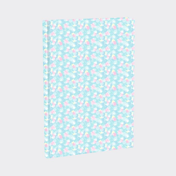 Bokbind elastisk sweetie, passer flere størrelser, lyseblå med mønster