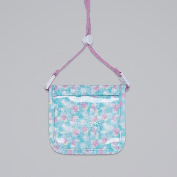 Lommebok sweetie, med praktisk snor, rosa og blåmønstret
