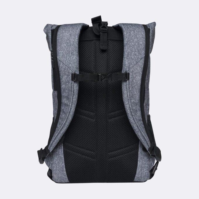 Sport light rolltop, grey melange gymsekk, ryggsiden, god polstring i ryggen og i skulderremmene