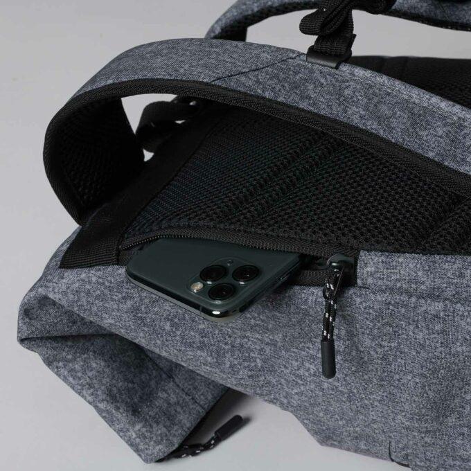 Sport light rolltop, grey melange gymsekk, med egen mobillomme i ryggen
