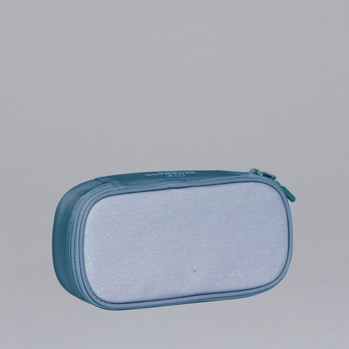 Sport junior ovalt pennal, blue glitter, blått med glitter