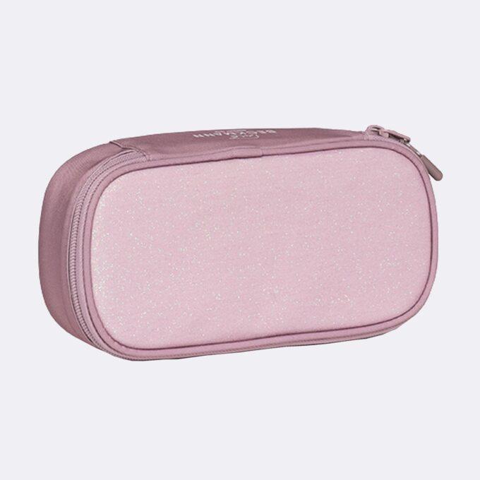 Sport junior ovalt pennal, pink glitter, rosa med glitter