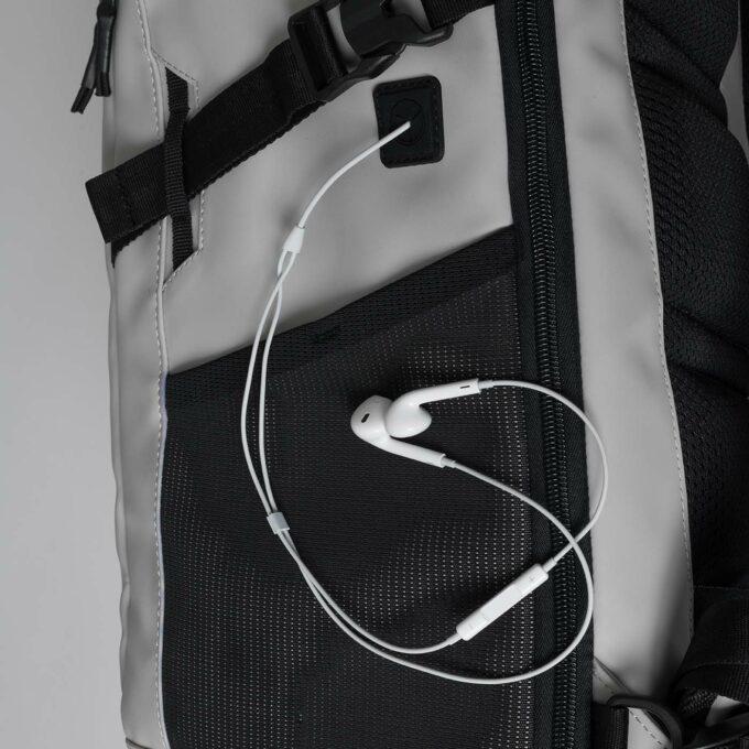 Street FLX, offwhite ryggsekk, sidebilde, gjennomgang for ledning