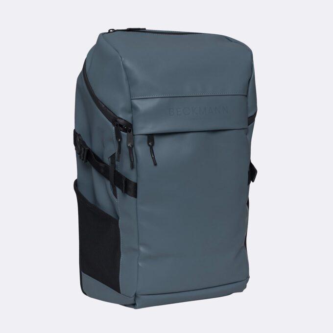 Street FLX, blue ryggsekk, frontbilde, frontlomme med glidelås og Beckmann logo